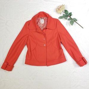 Anthro Tulle Orange wool pea coat